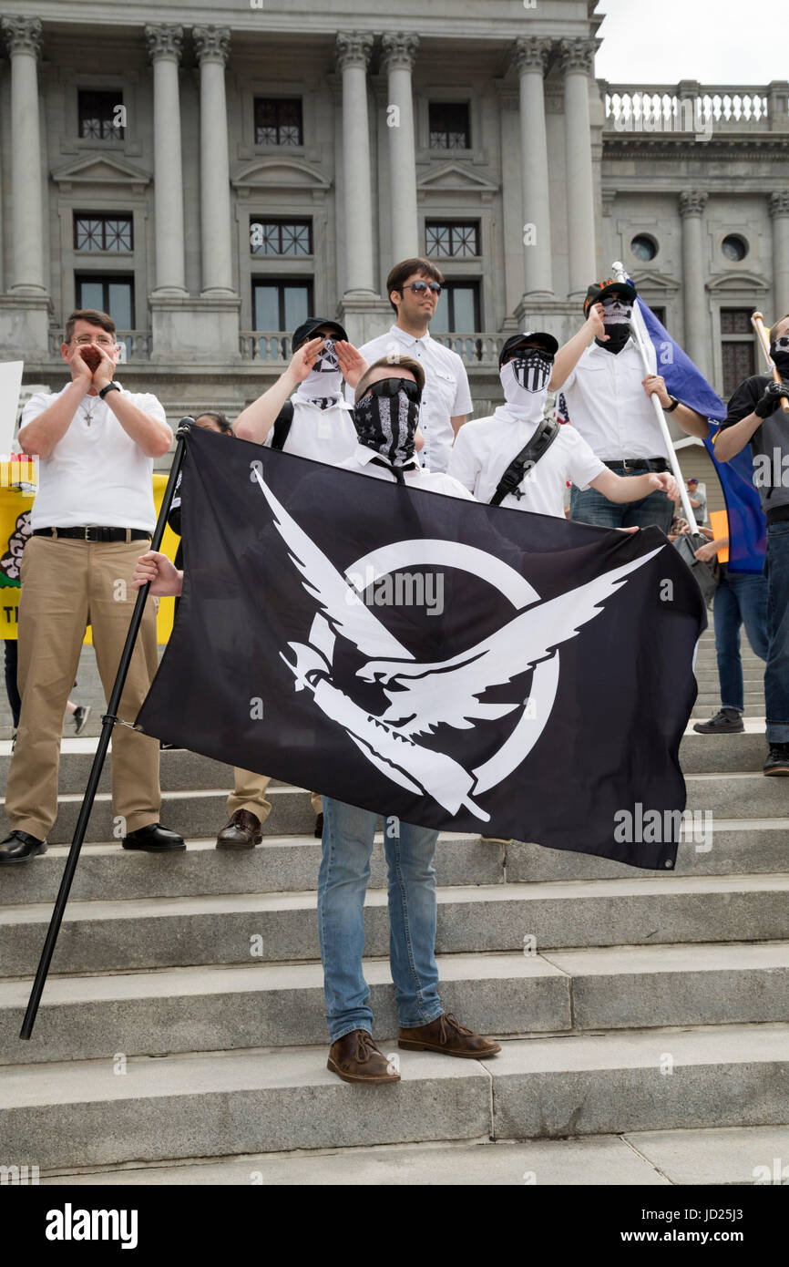 Harrisburg, Pennsylvania - Members of Vanguard America, many of them wearing masks, joined an anti-Sharia, anti Stock Photo