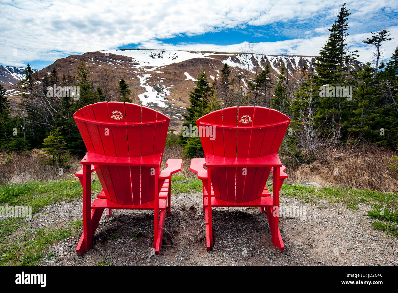 Red Adirondack Chairs In The Tablelands, Gros Morne National Park, Near  Woody Point, Newfoundland, Canada
