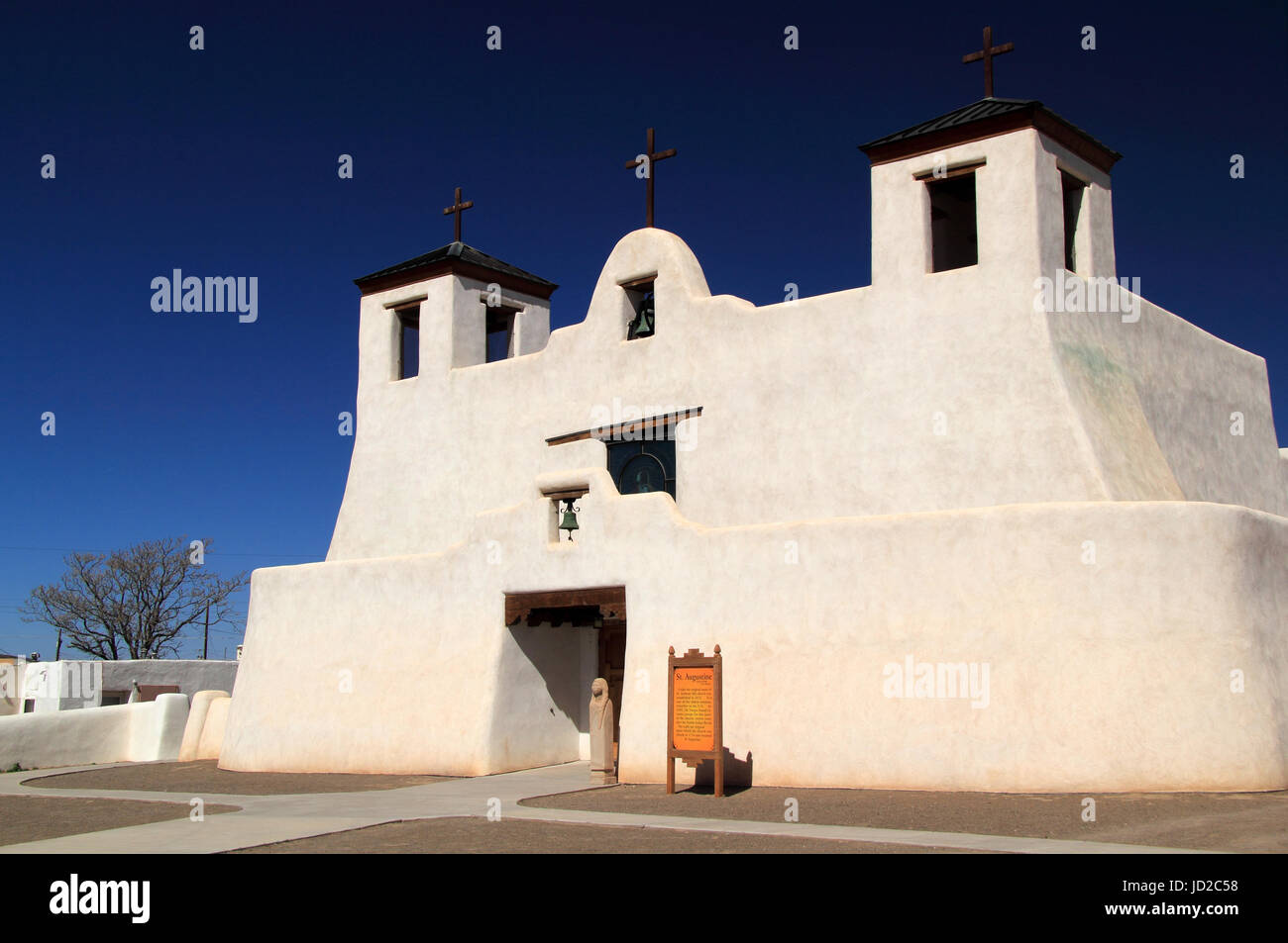 The historic Mission San Agustin de Isleta in Isleta Pueblo is one of the oldest Spanish colonial religious structures - Stock Image