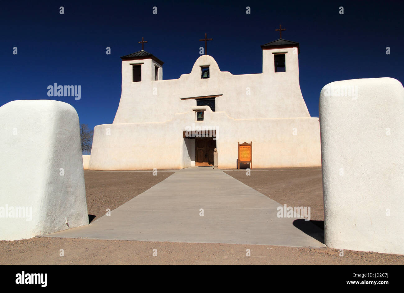 The historic Mission San Agustin de Isleta in Isleta Pueblo is one of the oldest Spanish colonial religious structures Stock Photo
