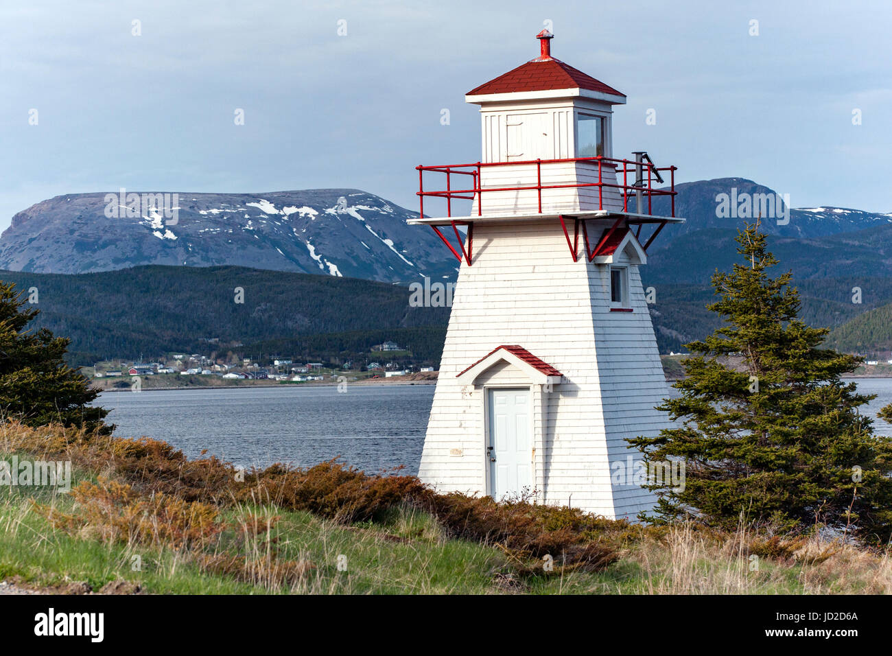 Woody Point Lighthouse - Woody Point, Gros Morne National Park, Newfoundland, Canada - Stock Image