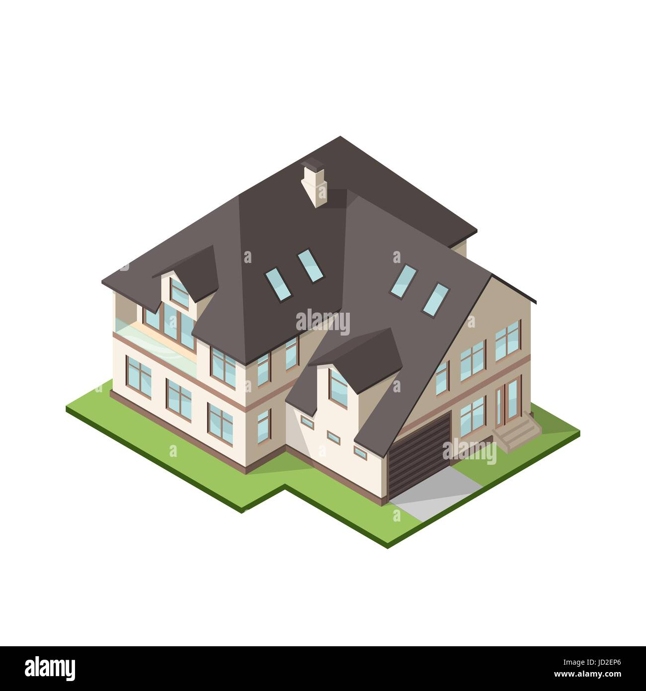 Vector illustration of isometric large private cottage or house for real estate brochures or web icon. - Stock Image