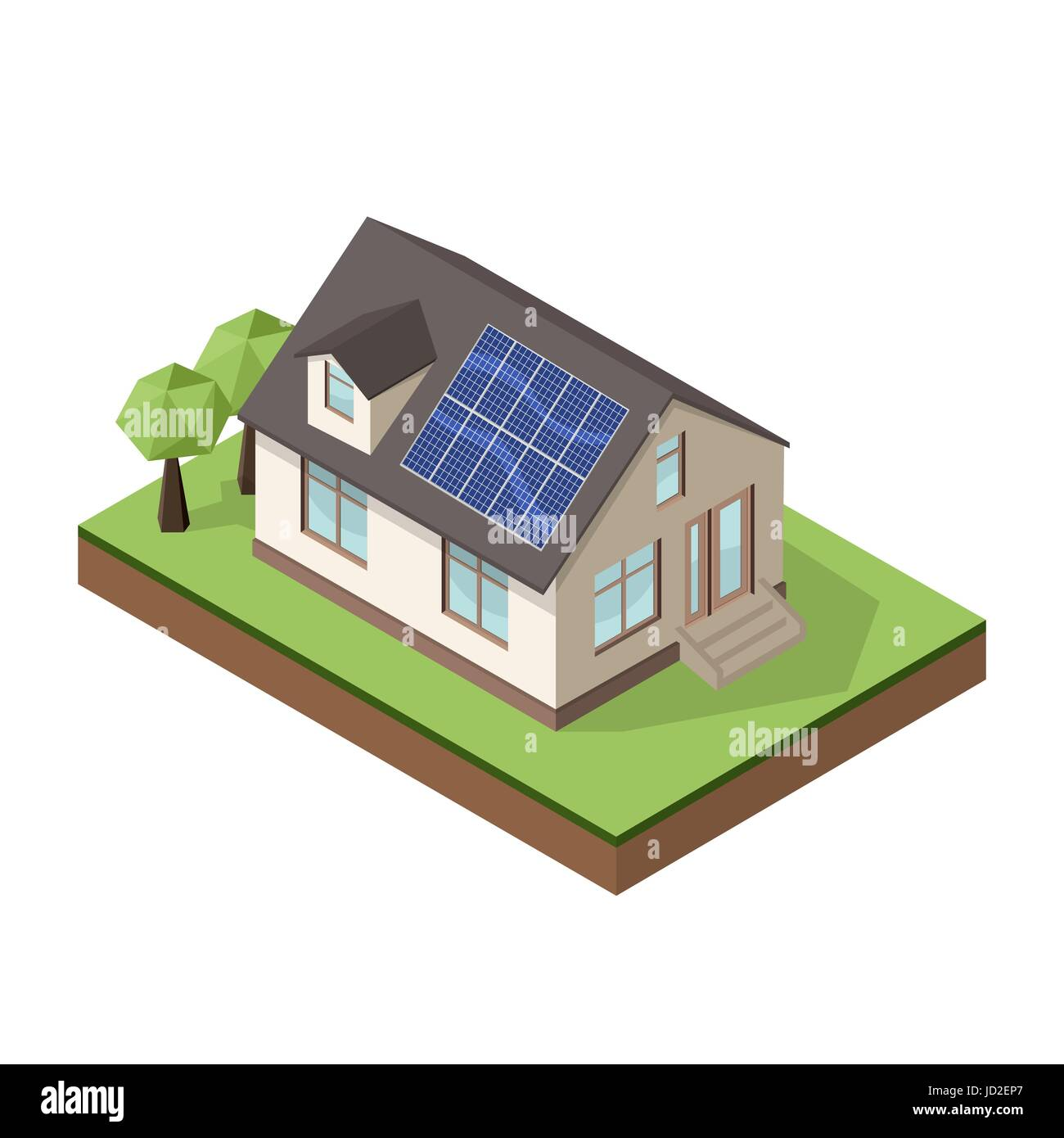Vector illustration of isometric private cottage or house with solar roof panels for real estate brochures or web - Stock Image
