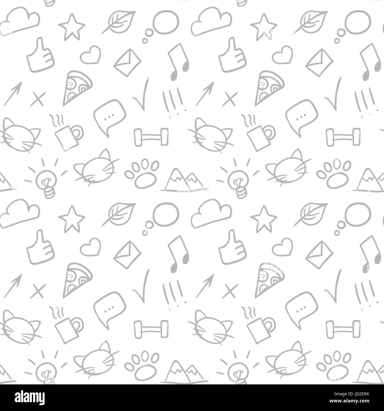 Vector seamless doodle hand drawn pattern with social icons Stock