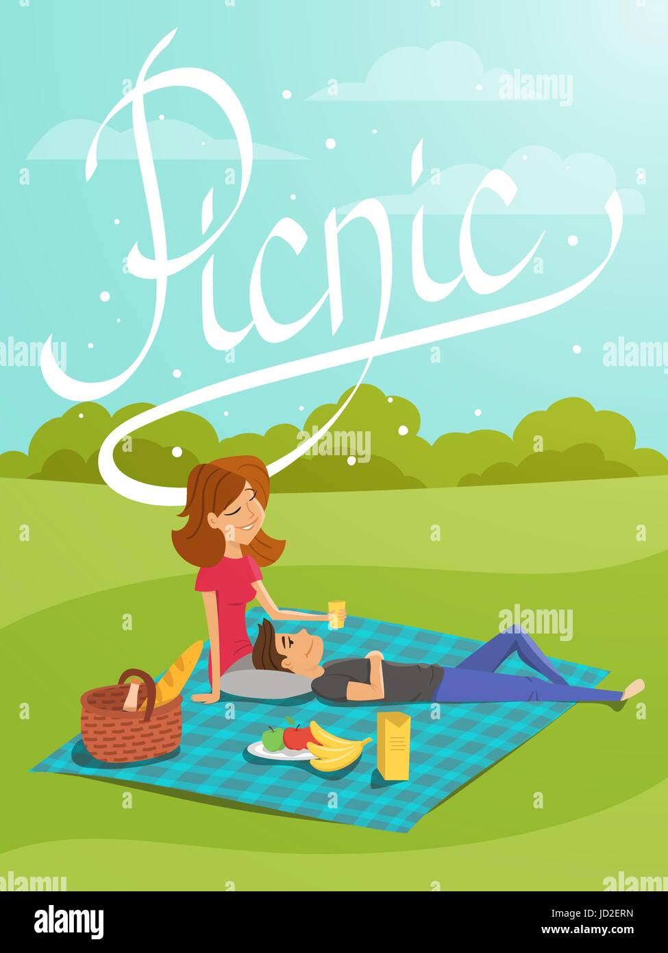 Vector illustration of young happy couple having picnic in the park. Hand drawn word 'picnic'. Template - Stock Vector
