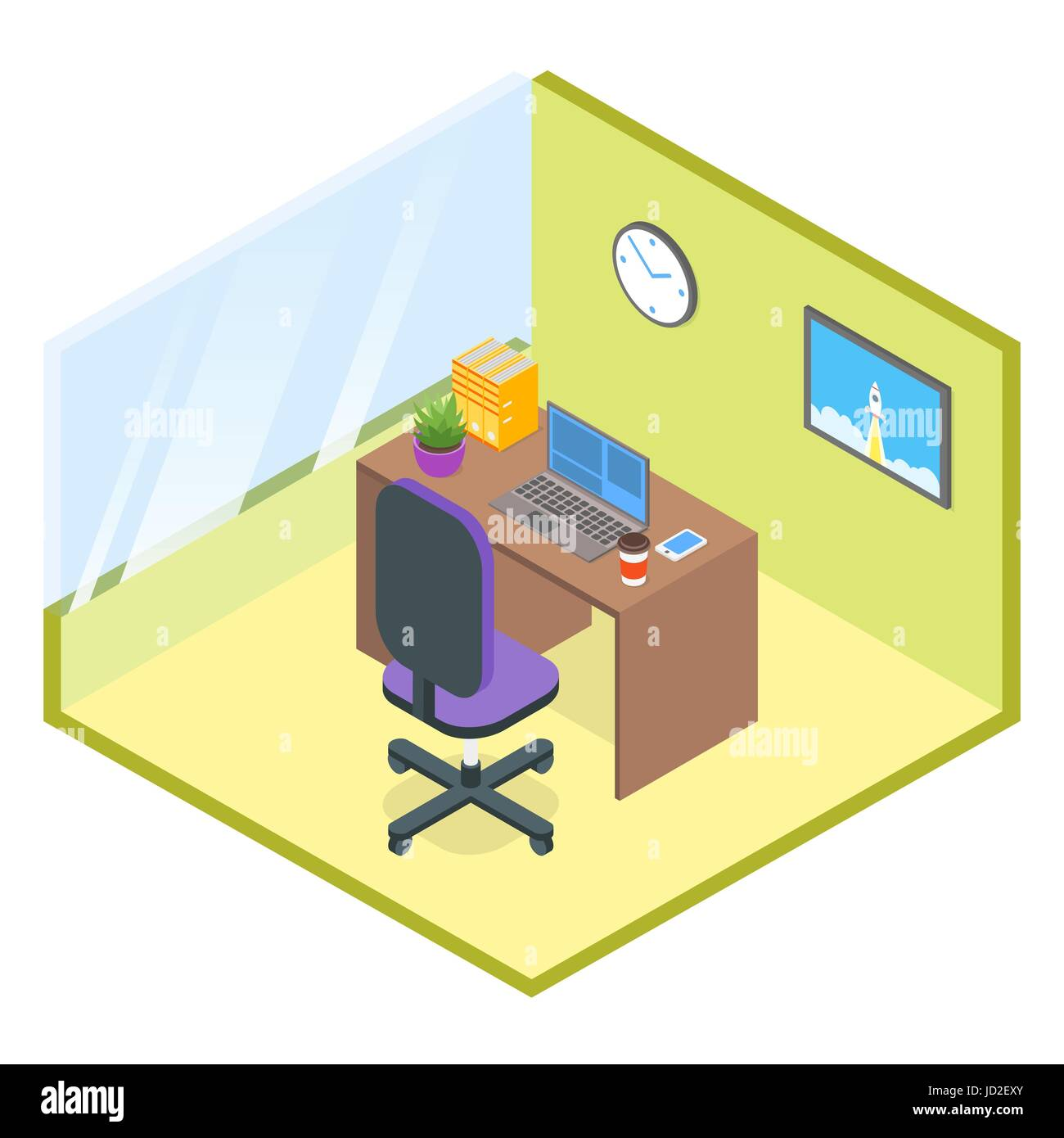 Vector isometric modern office room. 3d, computer, telephone, table, chair, coffee, box, cup, plant, folder, vector, - Stock Vector