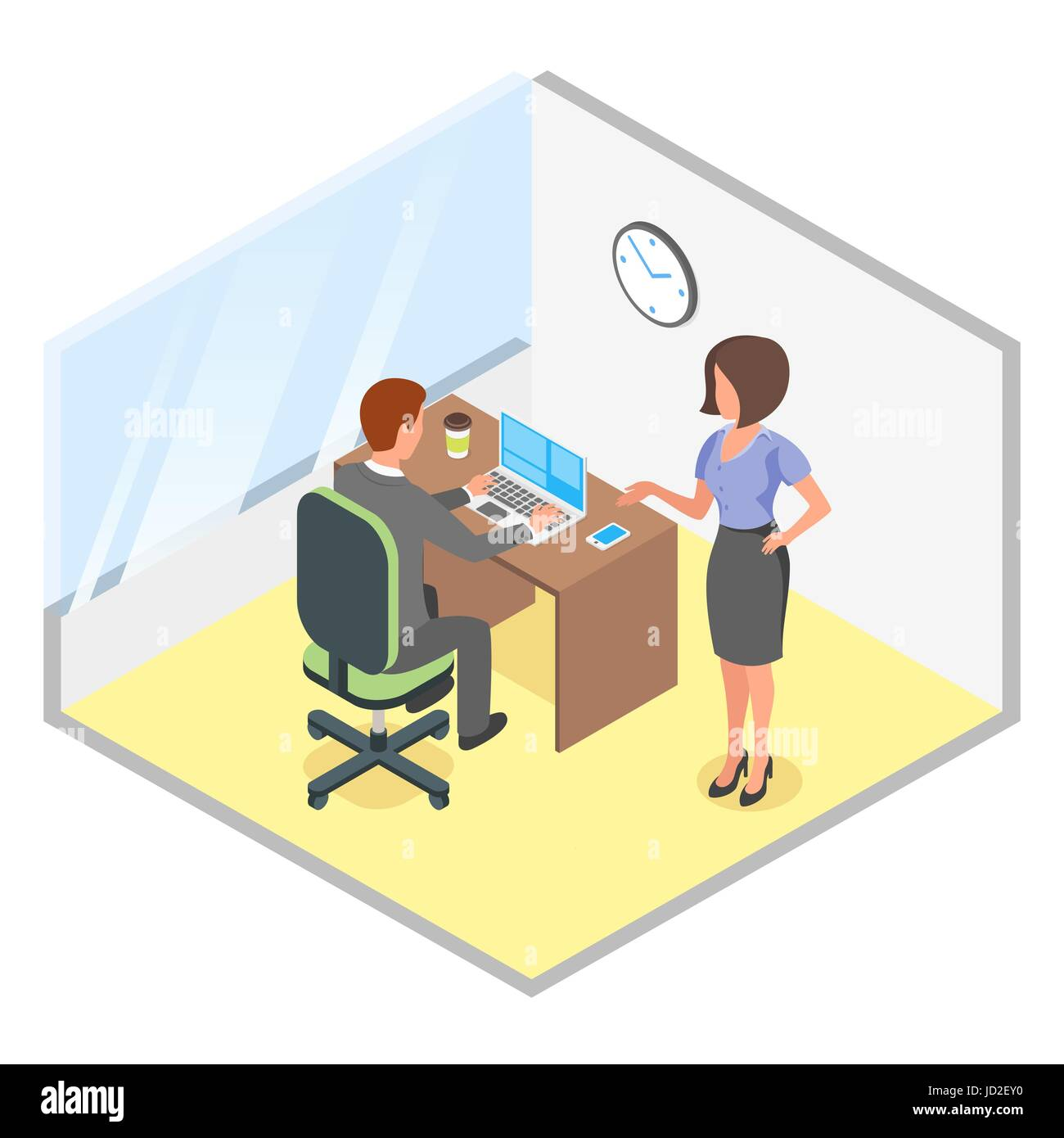 Vector isometric illustration of modern business office. Discussion of business project. Office, business, man, - Stock Vector