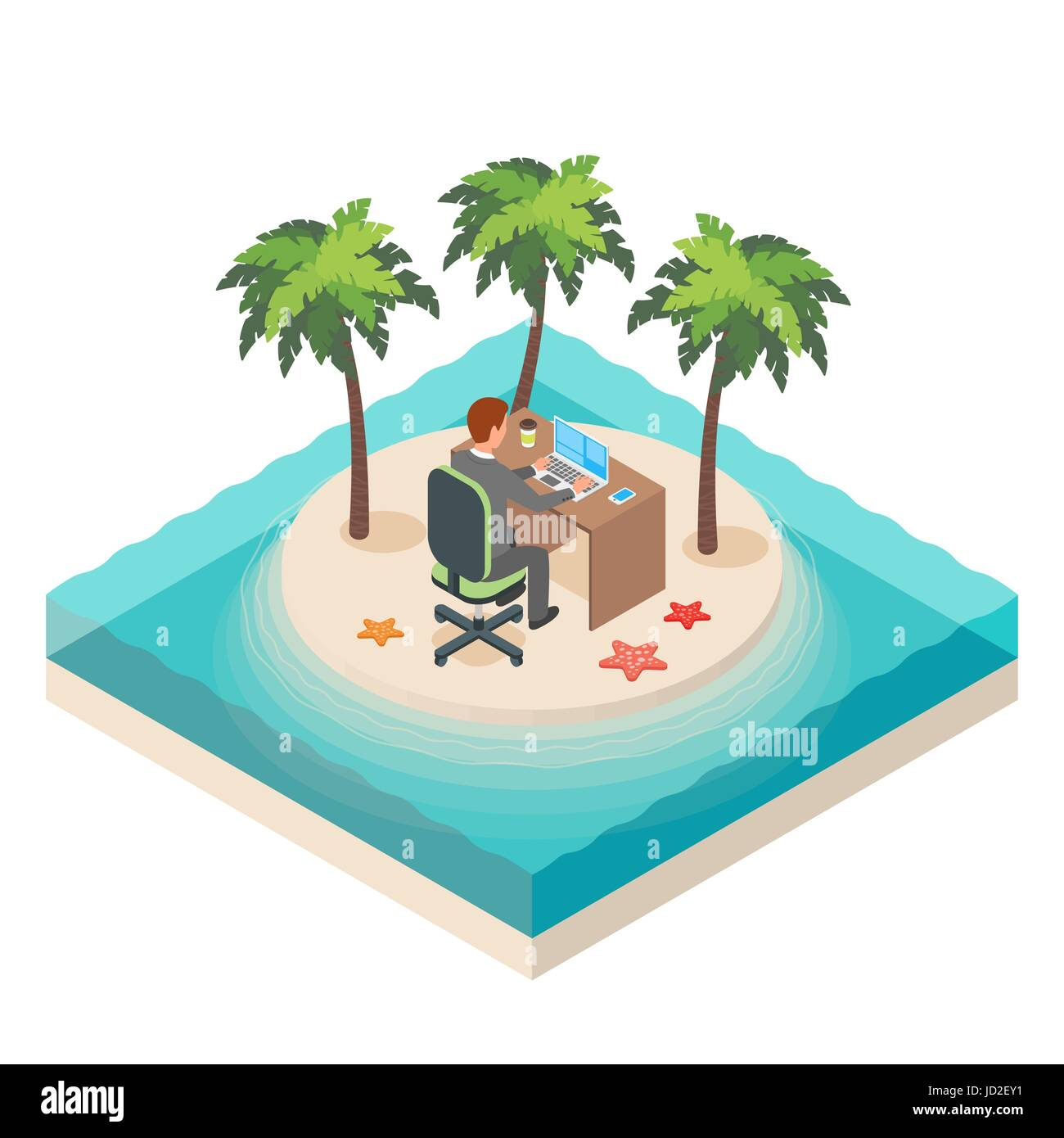 Vector isometric illustration of downshifting lifestyle. Tropical island. Business, man, job, freedom. - Stock Vector