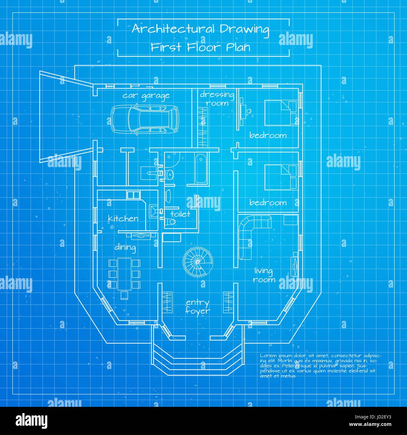 Vector illustration of city building blueprint. Architectural background or project Stock Vector