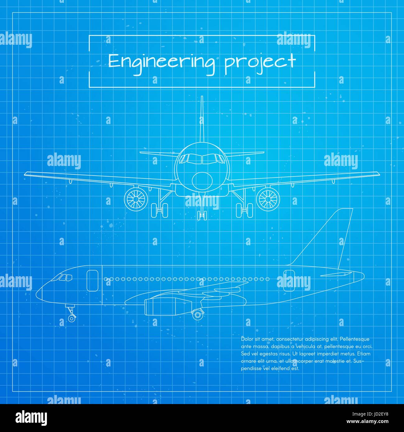 Vector illustration of plane engineering aircraft blueprint stock vector illustration of plane engineering aircraft blueprint background or project malvernweather Images