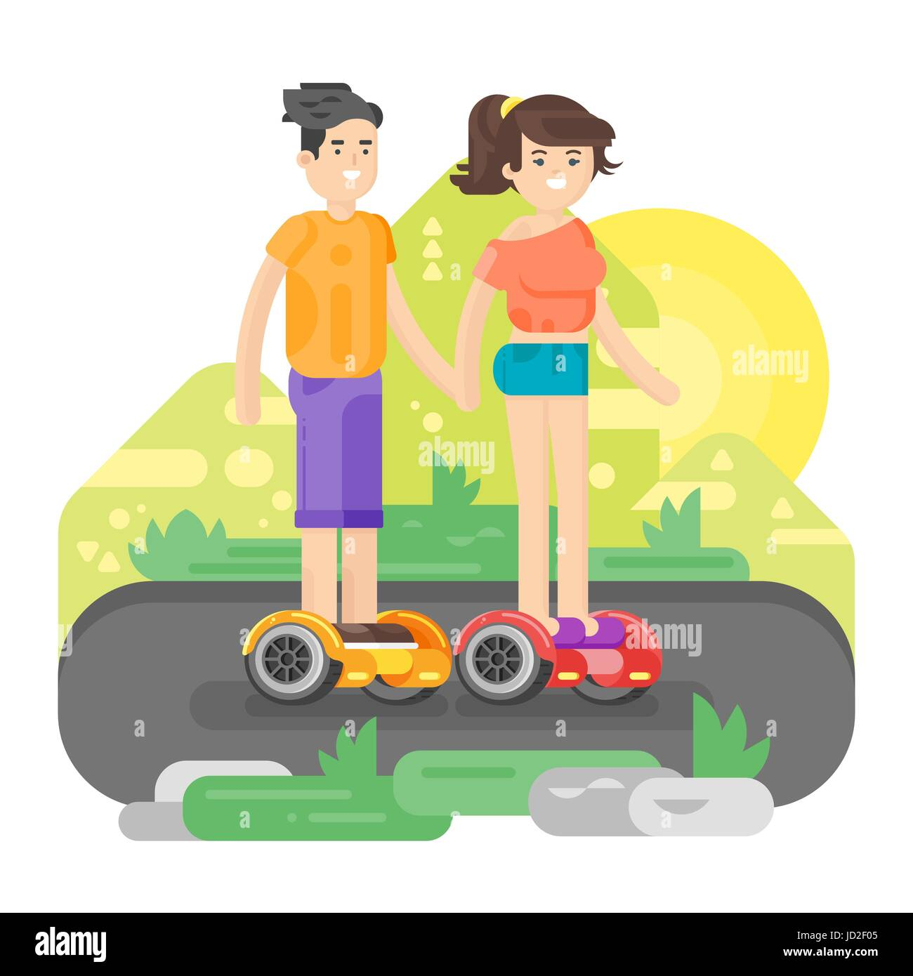 Vector flat style illustration of young man and woman riding an battery-powered electric vehicle in a park. Self - Stock Image