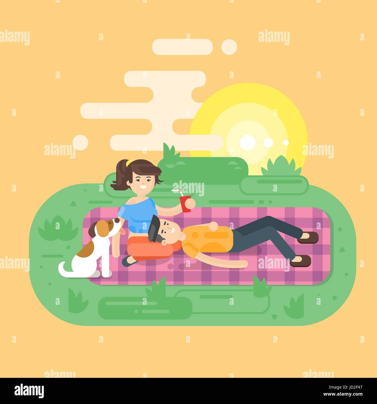 Vector flat style illustration of young happy couple having picnic in the park with dog. Summer romantic vacation. - Stock Vector