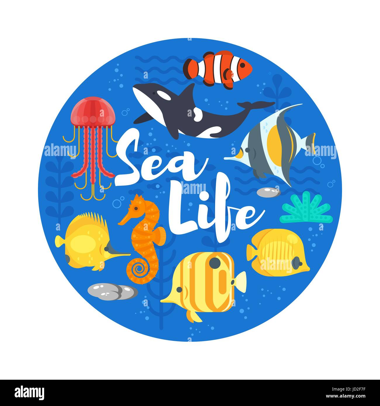 Vector flat style illustration of coralreef, fish and sea life. Icon for web. Isolated on white background. - Stock Image