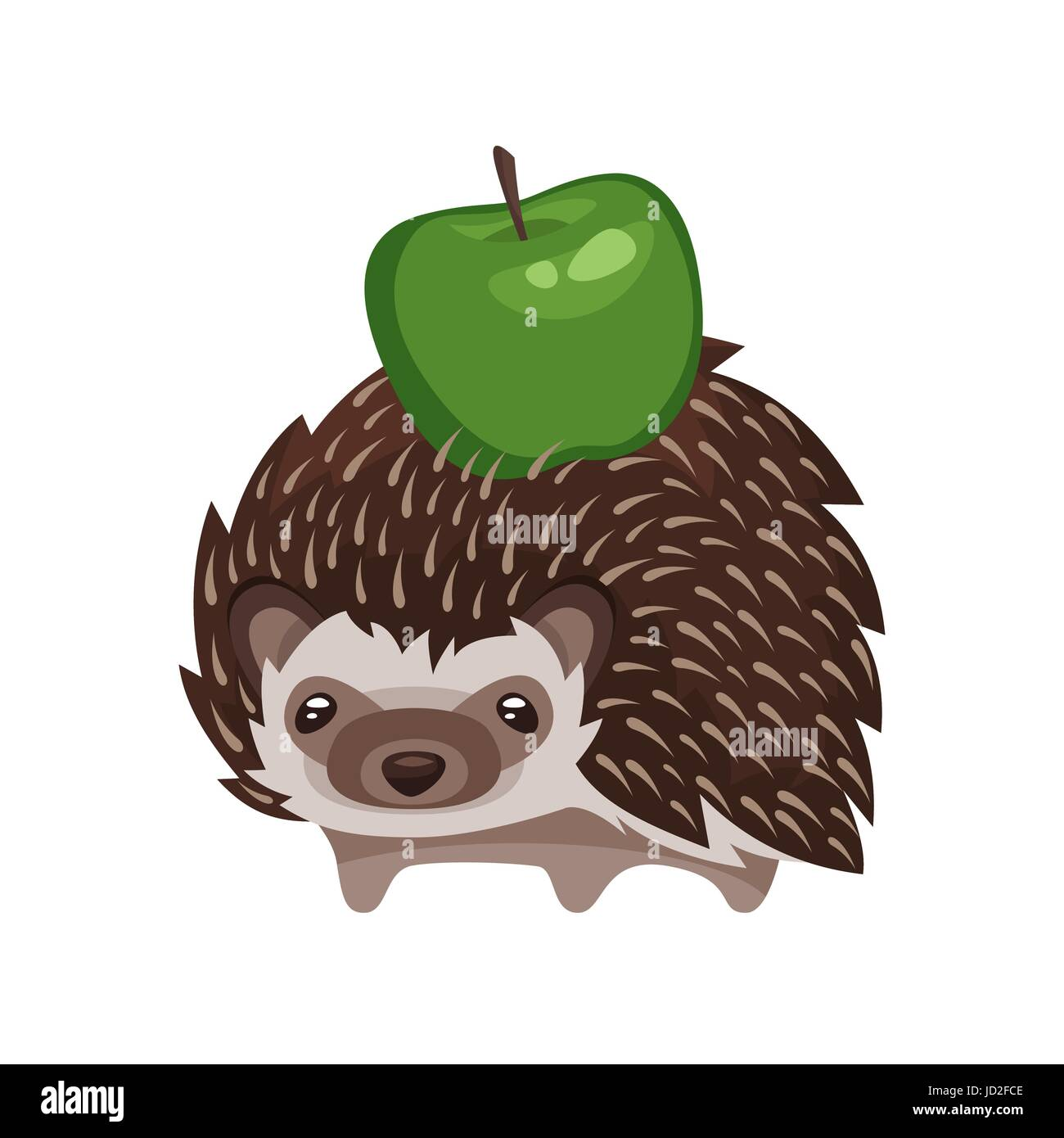 Vector cartoon style illustration of hedgehog with green apple. Icon for web. Isolated on white background. - Stock Image