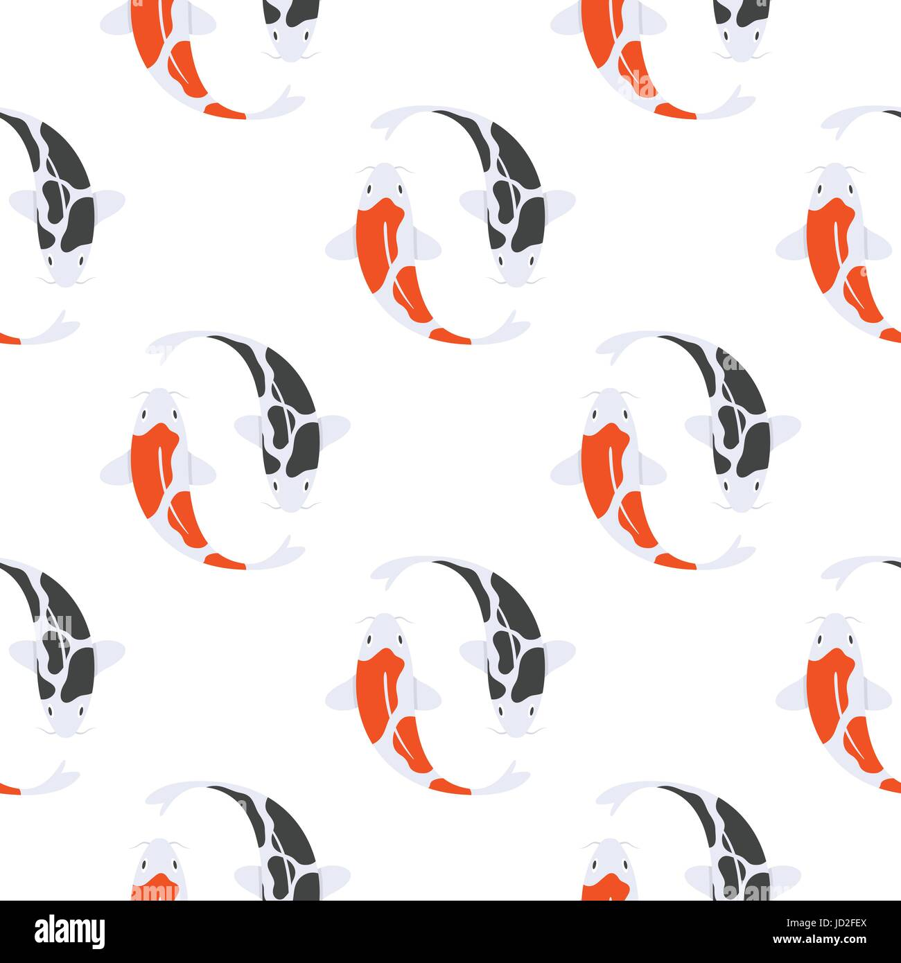 Vector flat style seamless pattern with Japanese koi fish. Children's wallpaper.