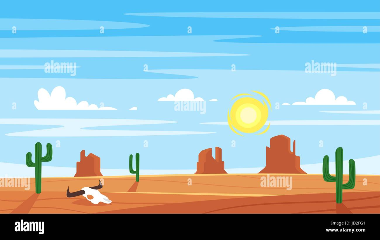 Vector Cartoon Style Background With Hot West Desert Landscape Stock
