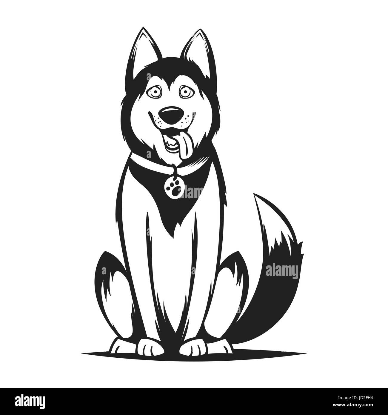 Vector monochrome illustration of husky dog. Isolated on white background. - Stock Image