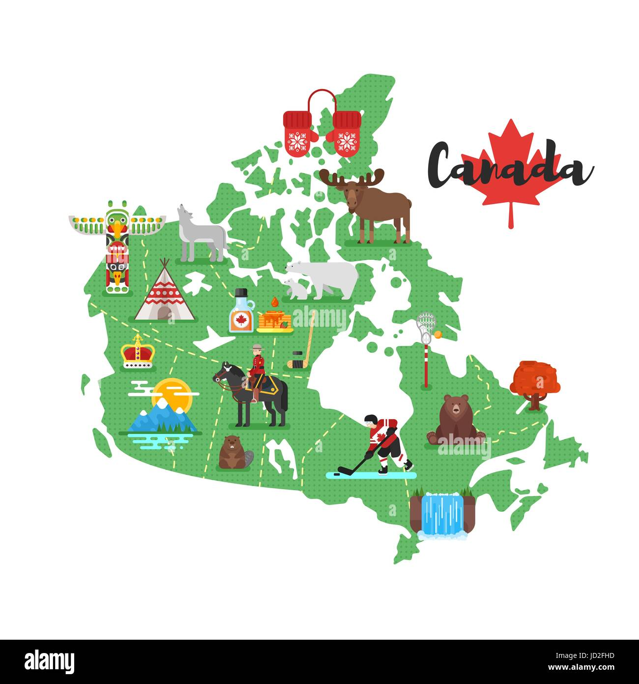 Canada Map With Symbols Vector flat style illustration of Canadian map with Canadian