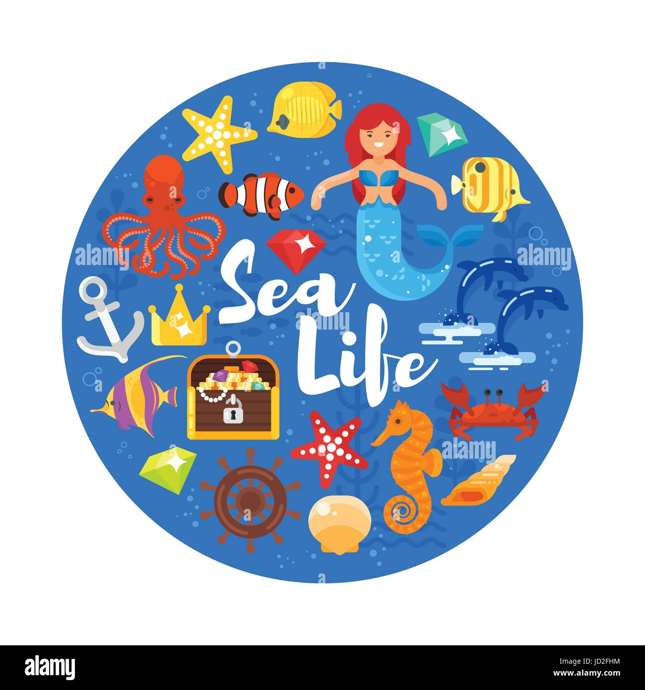 Vector flat style circle composition with sea life icons. Icon for web. Isolated on white background. - Stock Image