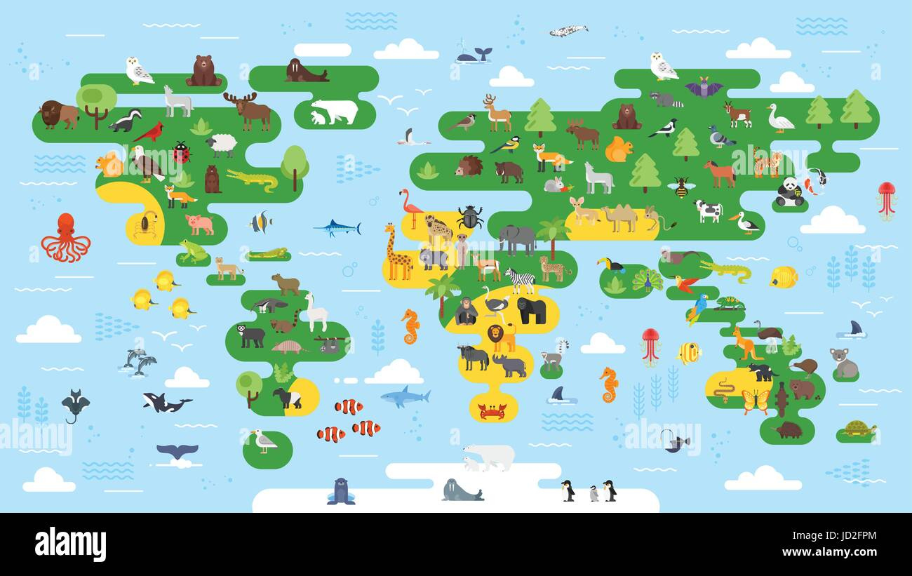 Vector flat style big abstract world map with animals colorful vector flat style big abstract world map with animals colorful vector illustration for children with all continents for preschool education gumiabroncs Choice Image