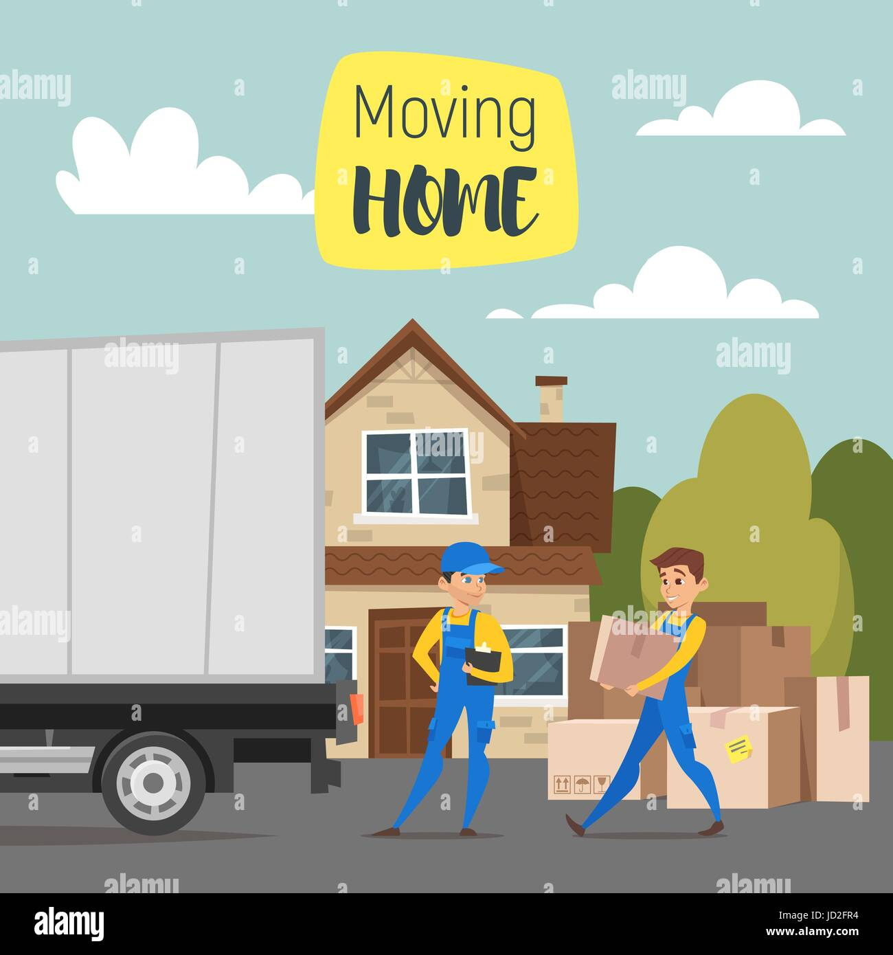 Vector cartoon style illustration of loaders movers man carrying cardboard boxes. House, paper boxes and a truck. - Stock Vector