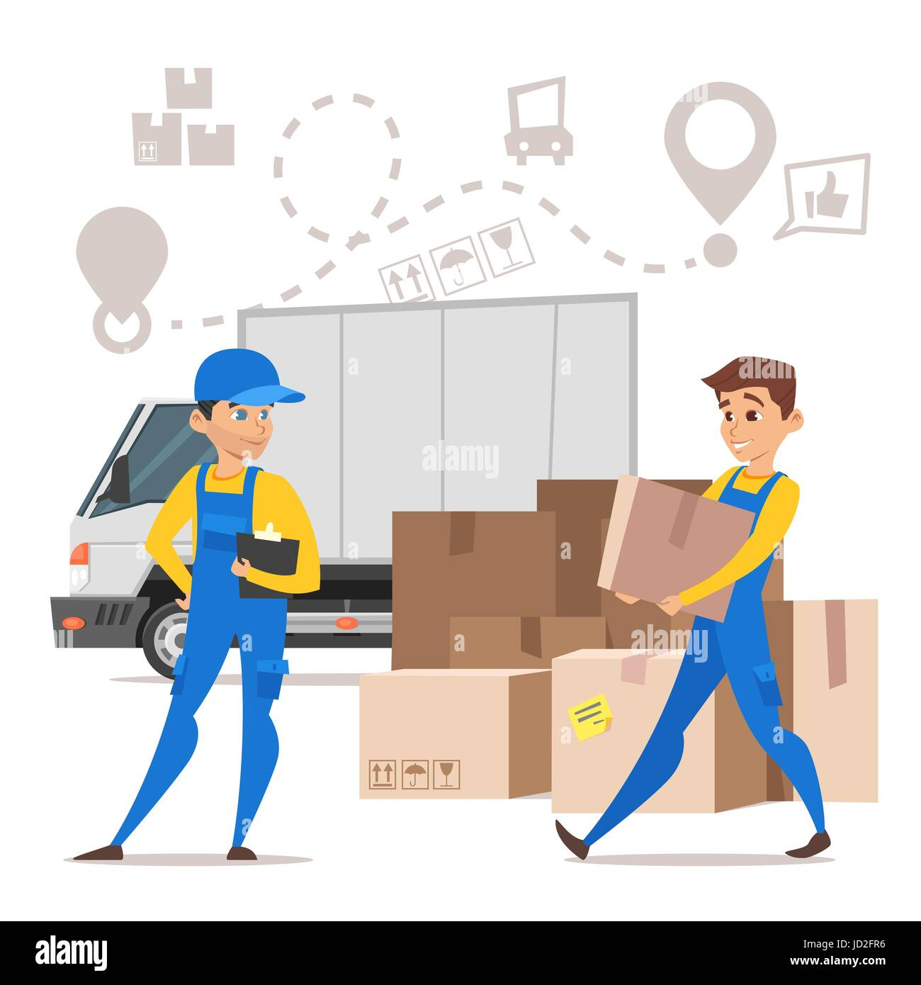 Vector cartoon style illustration of loaders movers man carrying cardboard boxes. Paper boxes and a truck. Concept - Stock Vector
