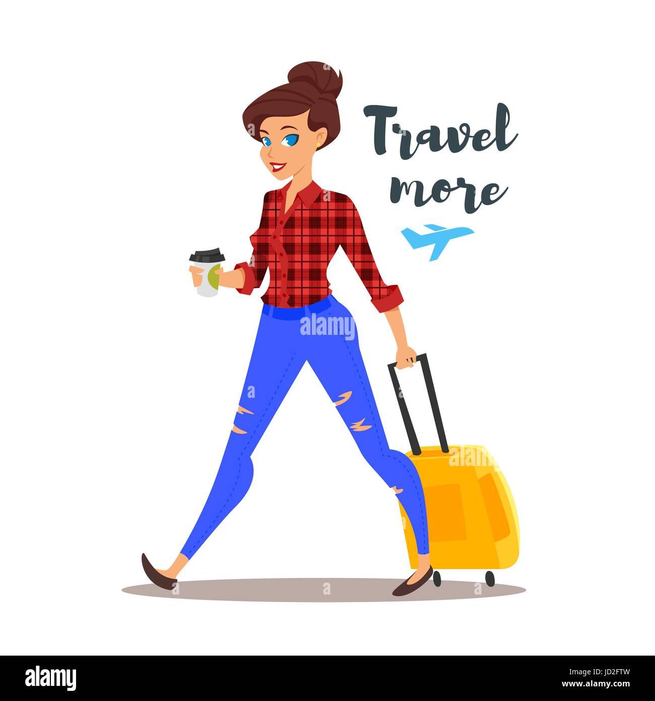 Vector flat style illustration of young pretty woman with a travel case. Travel more motivational poster. Isolated - Stock Vector