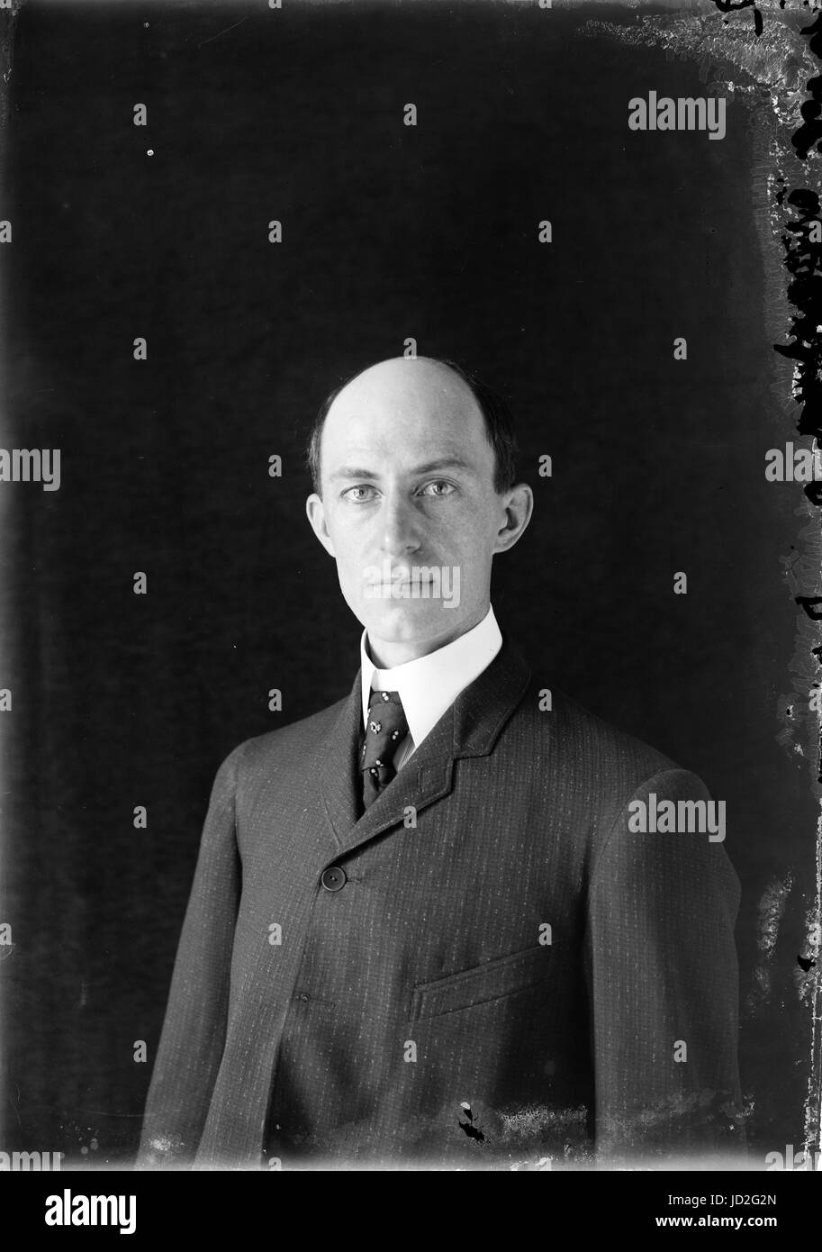 Wilbur Wright, age 38, head and shoulders, about 1905; one of the earliest published photographs of him. - Stock Image