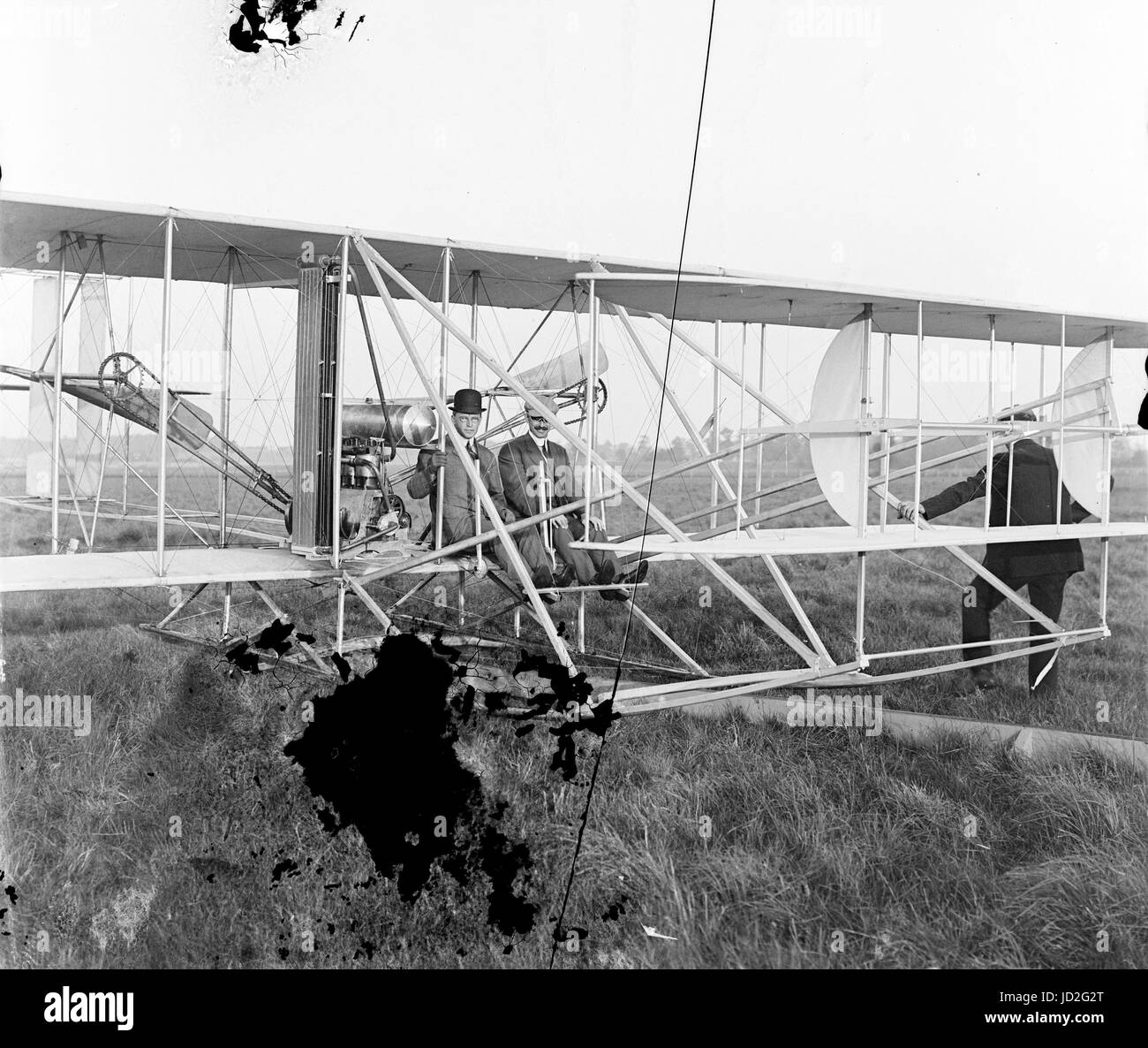 Orville seated in Wright airplane with Albert B. Lambert before takeoff; Simms Station, Dayton, Ohio. - Stock Image