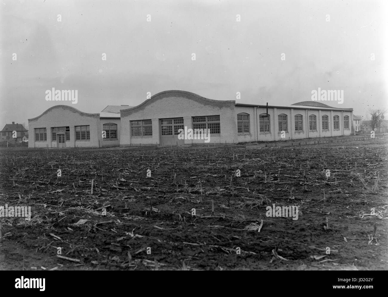 Exterior view of the Wright Company factory; Dayton, Ohio. - Stock Image