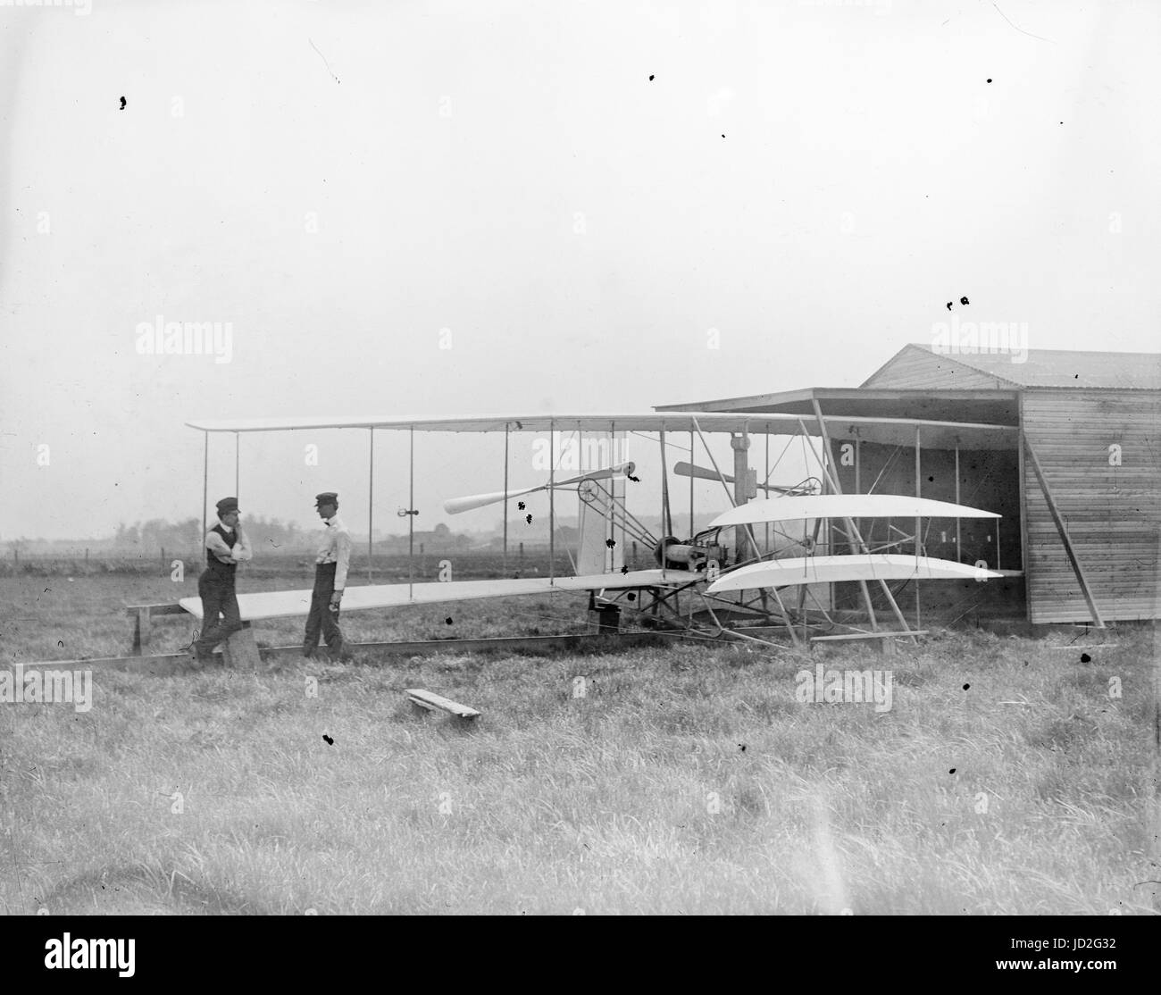 Wilbur and Orville Wright with their second powered machine; Huffman Prairie, Dayton, Ohio. - Stock Image