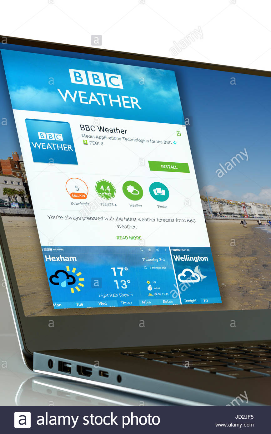 BBC Weather app on laptop screen, England, UK - Stock Image