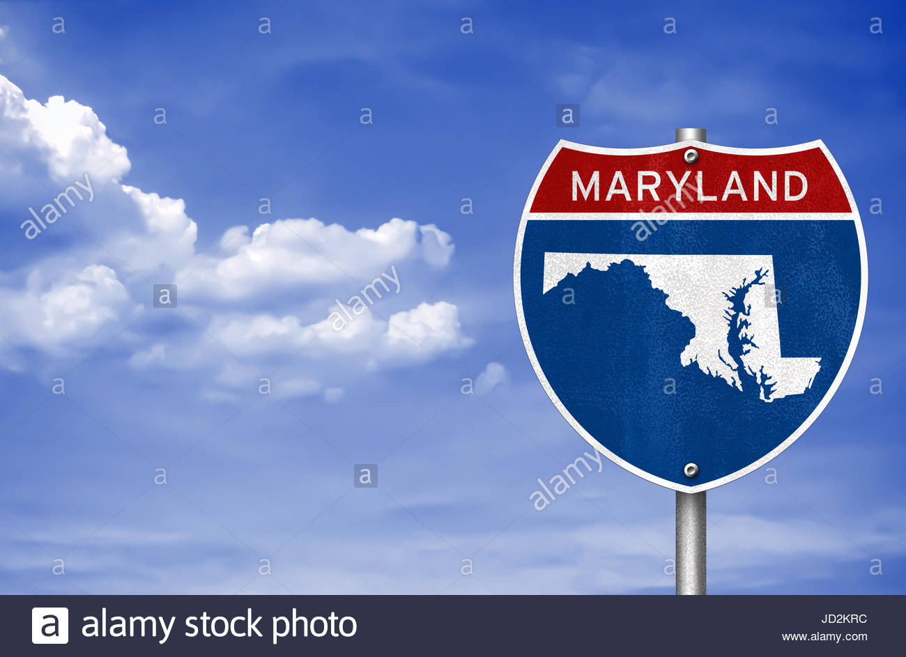 Maryland road sign map - Stock Image
