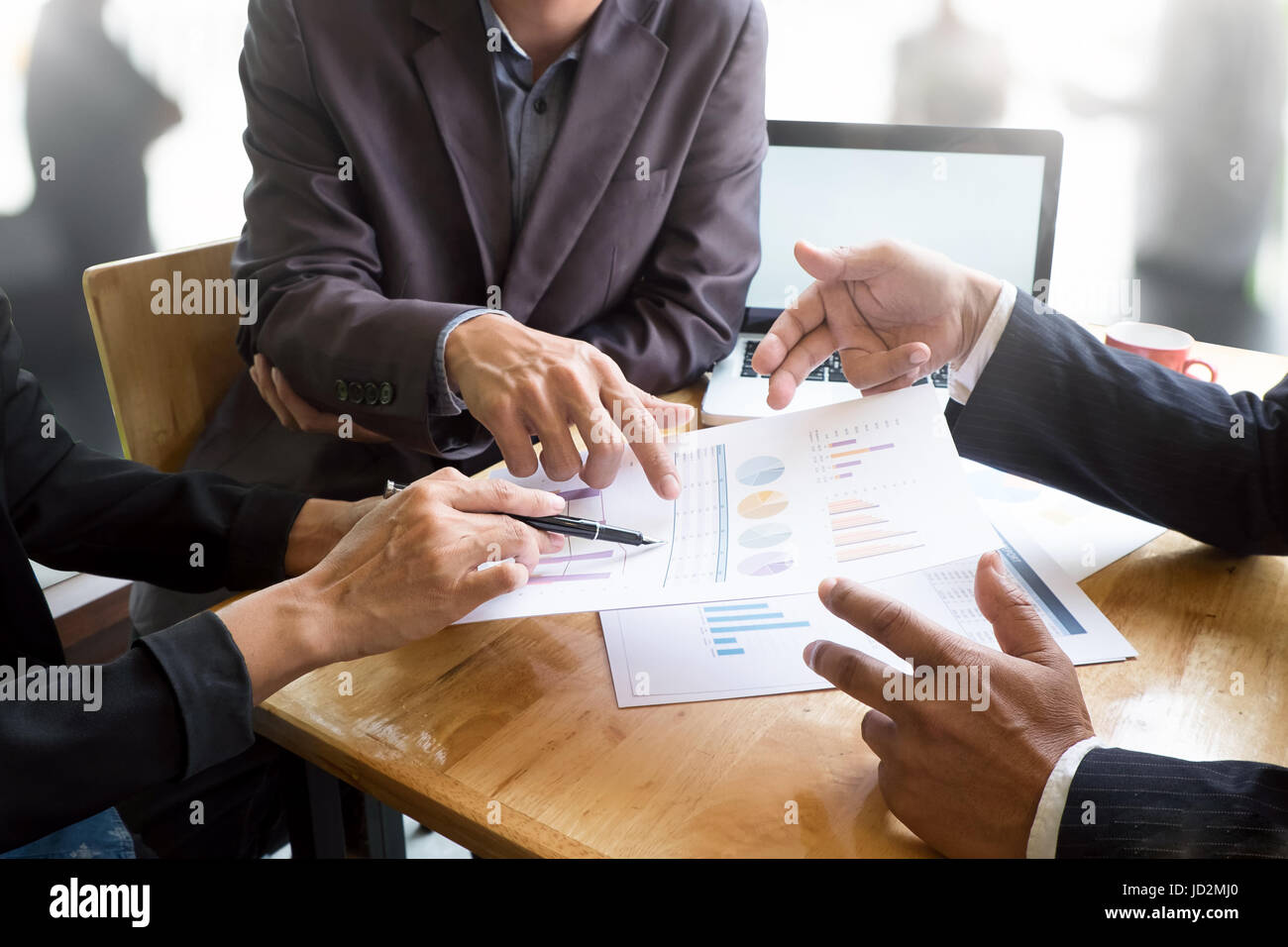 Close up business talking on desk with business presentation concept with vintage tone. - Stock Image