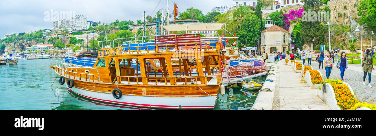 ANTALYA, TURKEY - MAY 6, 2017: Panorama of the old marina with the docked pleasure boats and the Iskele Mosque on - Stock Image