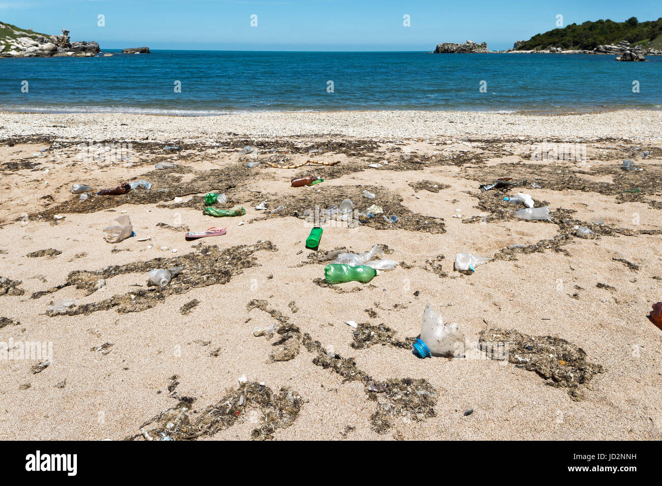 Garbage Pollutions on Dirty Beach Stock Photo