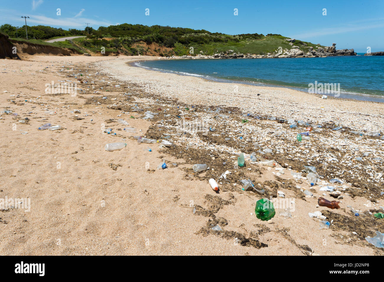 Garbage Pollutions on Dirty Beach - Stock Image