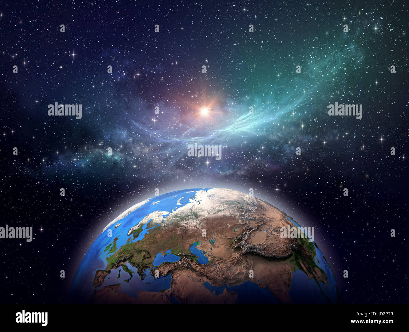 Planet Earth, star cluster and nebula in outer space, bright light shining far behind - Elements of this image furnished - Stock Image
