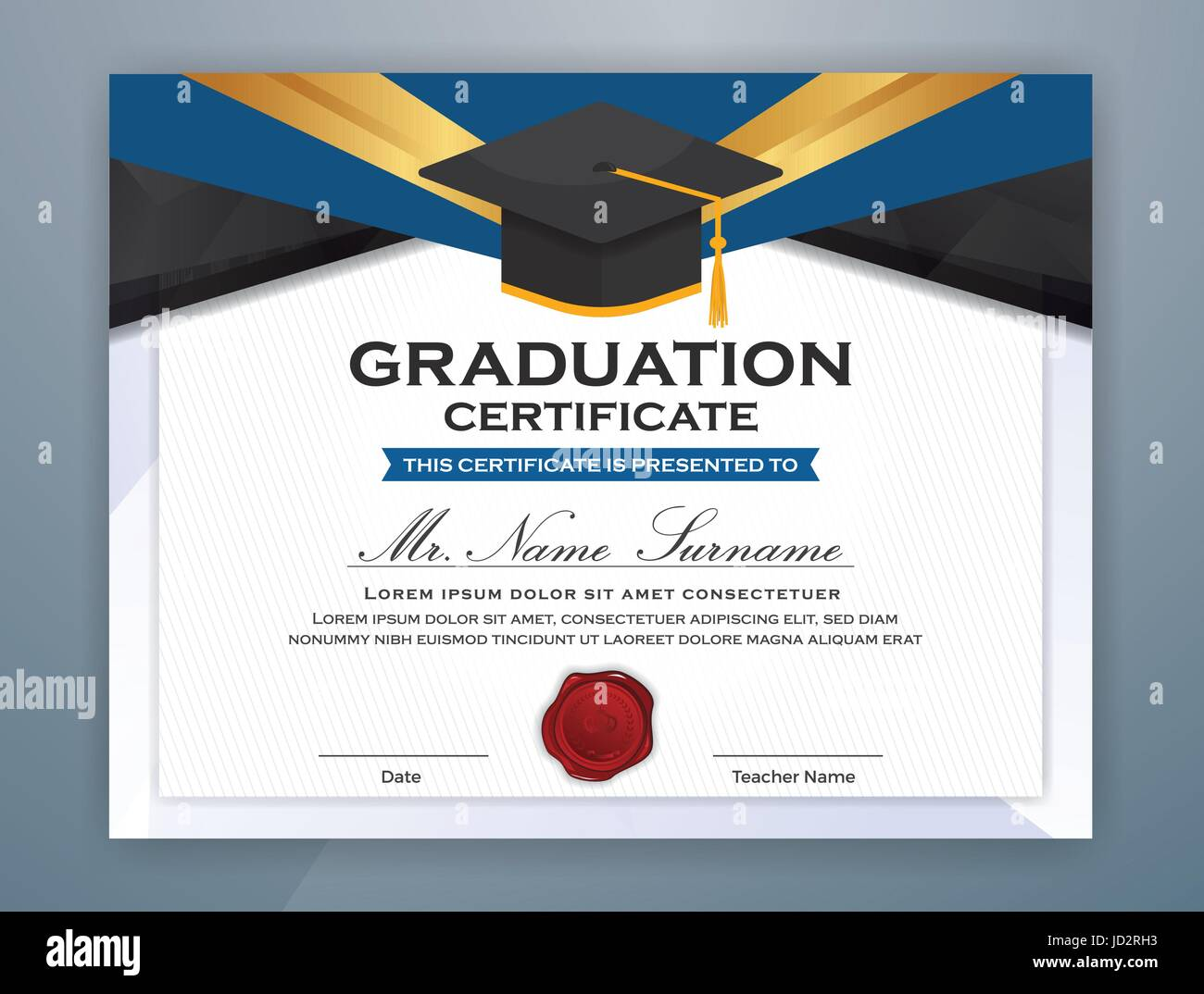 high school diploma certificate template design with graduate cap for print vector illustration