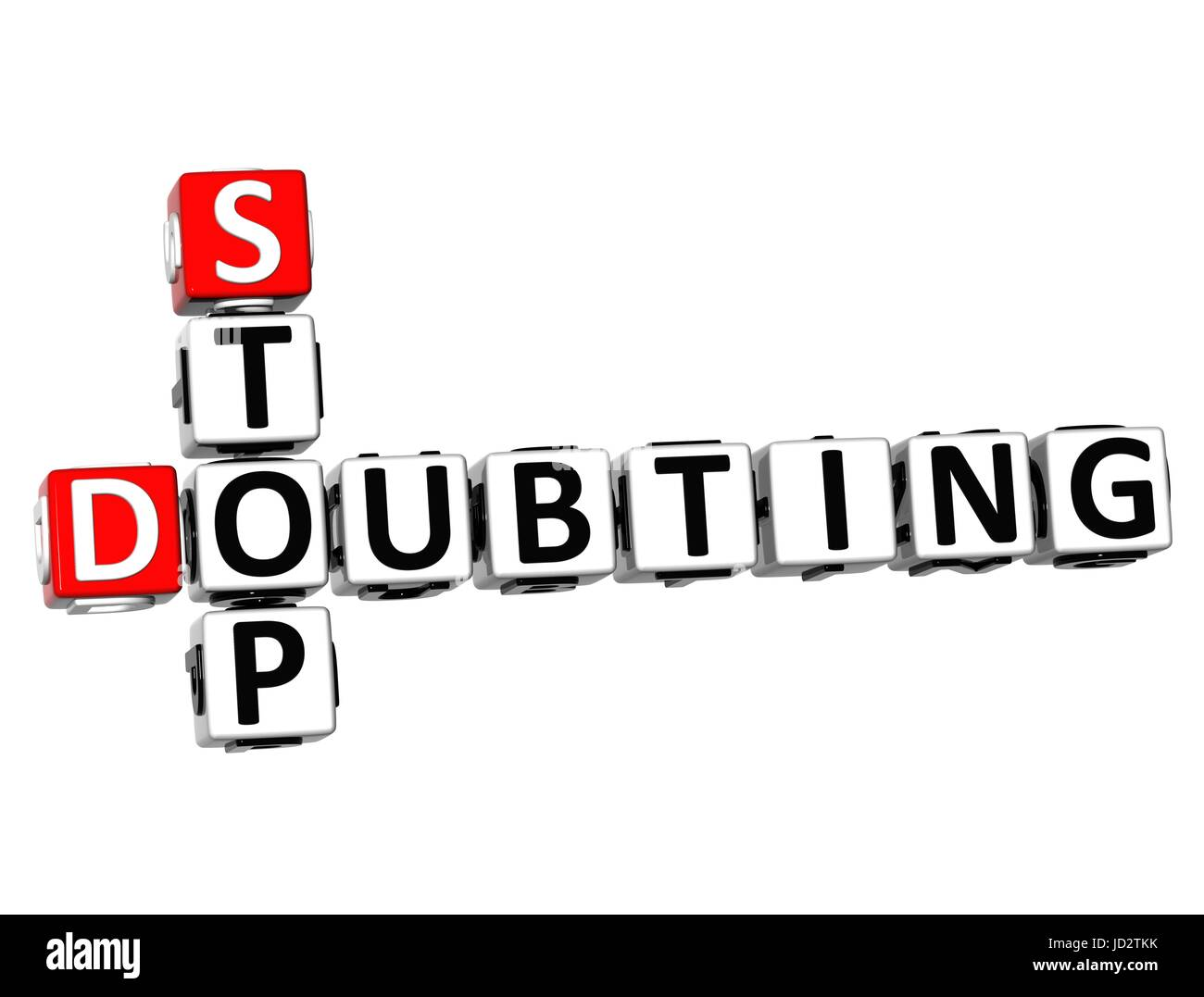 3D Crossword Stop Doubting on white background Stock Photo