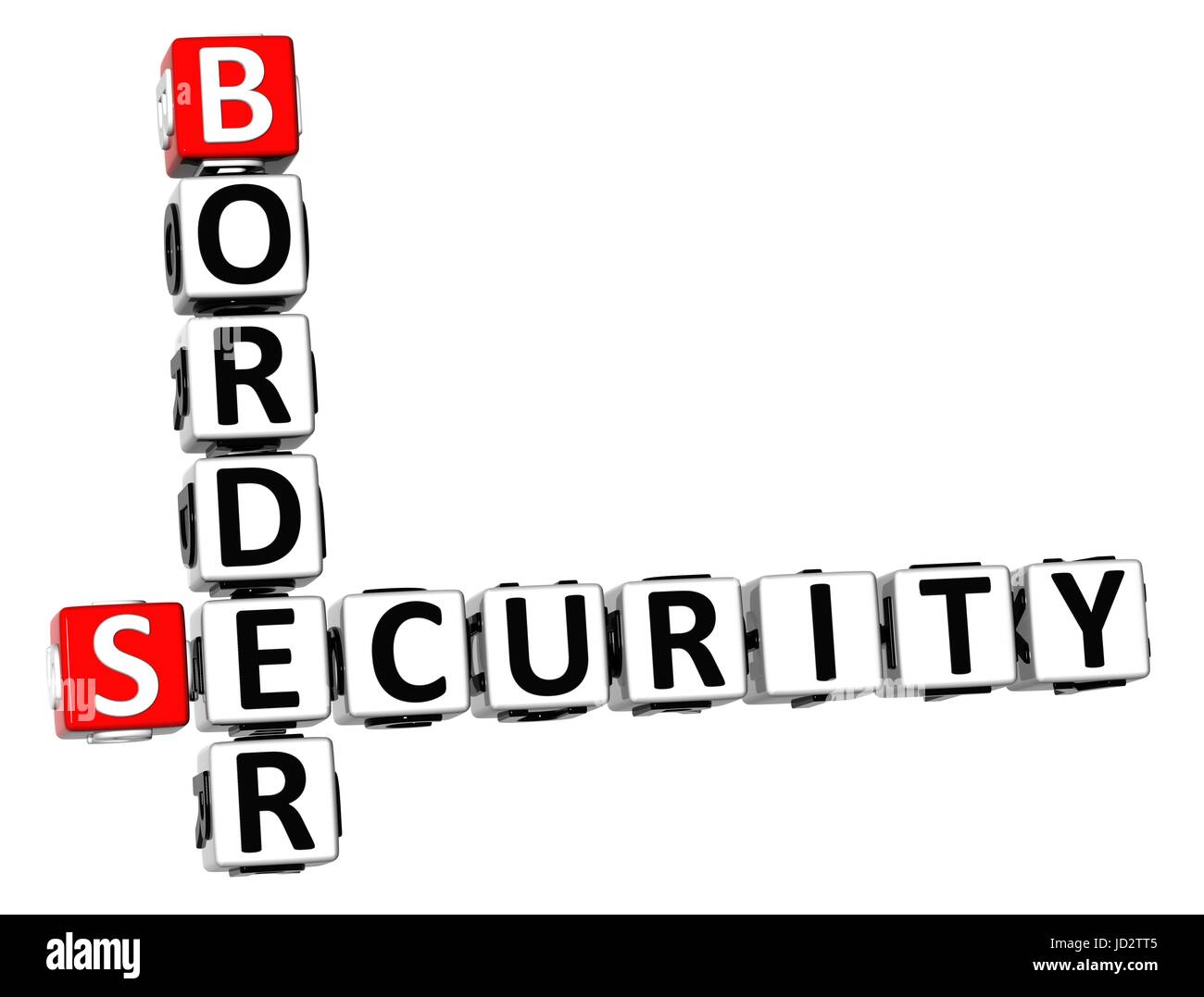3D Crossword Border Security on white background Stock Photo