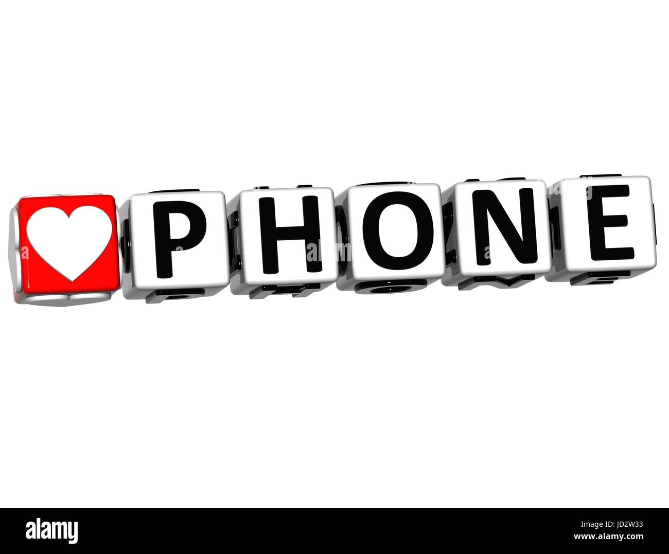 3D Love Phone Button Click Here Block Text over white background - Stock Image