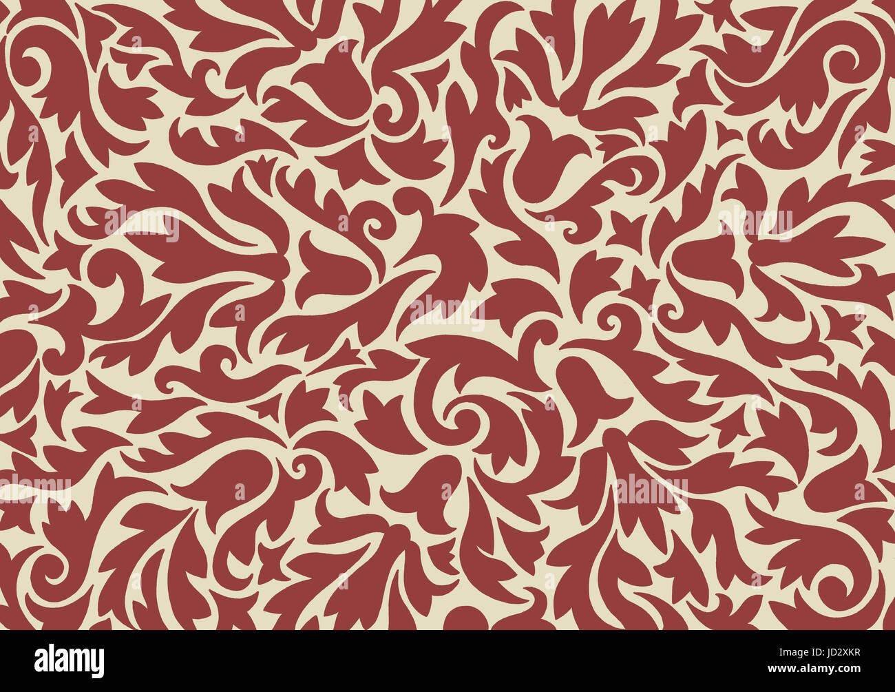 A hand drawn non-repeating pattern inspired by medieval designs - Stock Image