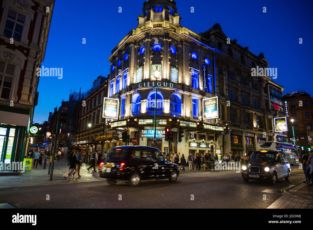 West End at night, Gielgud Theater showing The Ferryman, Piccadilly, London, UK - Stock Image