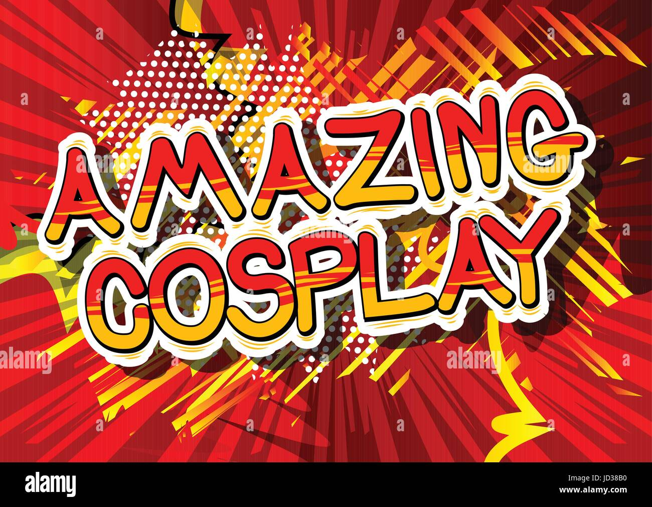 Amazing Cosplay - Comic book style word on abstract background. - Stock Image