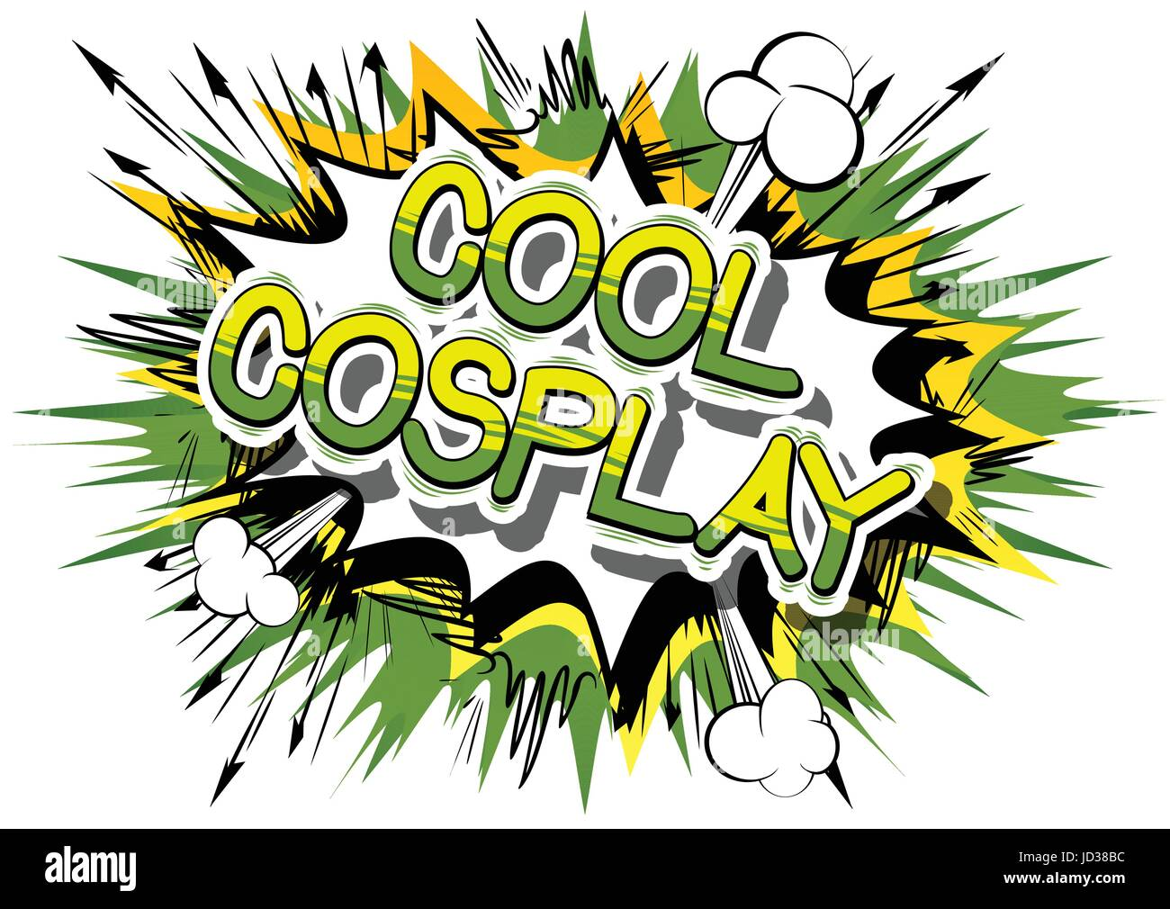 Cool Cosplay - Comic book style word on abstract background. - Stock Image