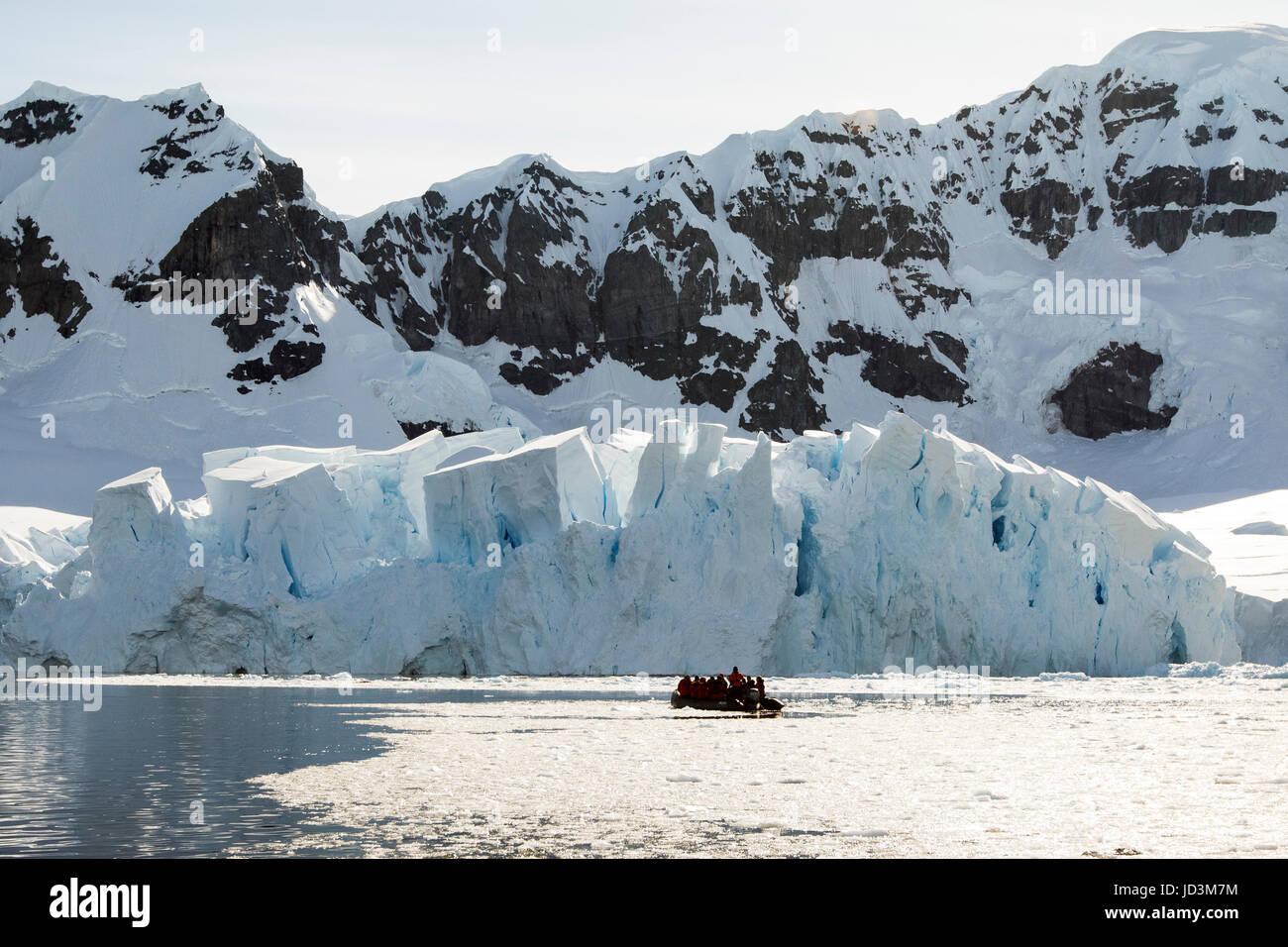 Cruise ship Antarctica expedition with tourists view Antarctic landscape,  Antarctic Peninsula. - Stock Image