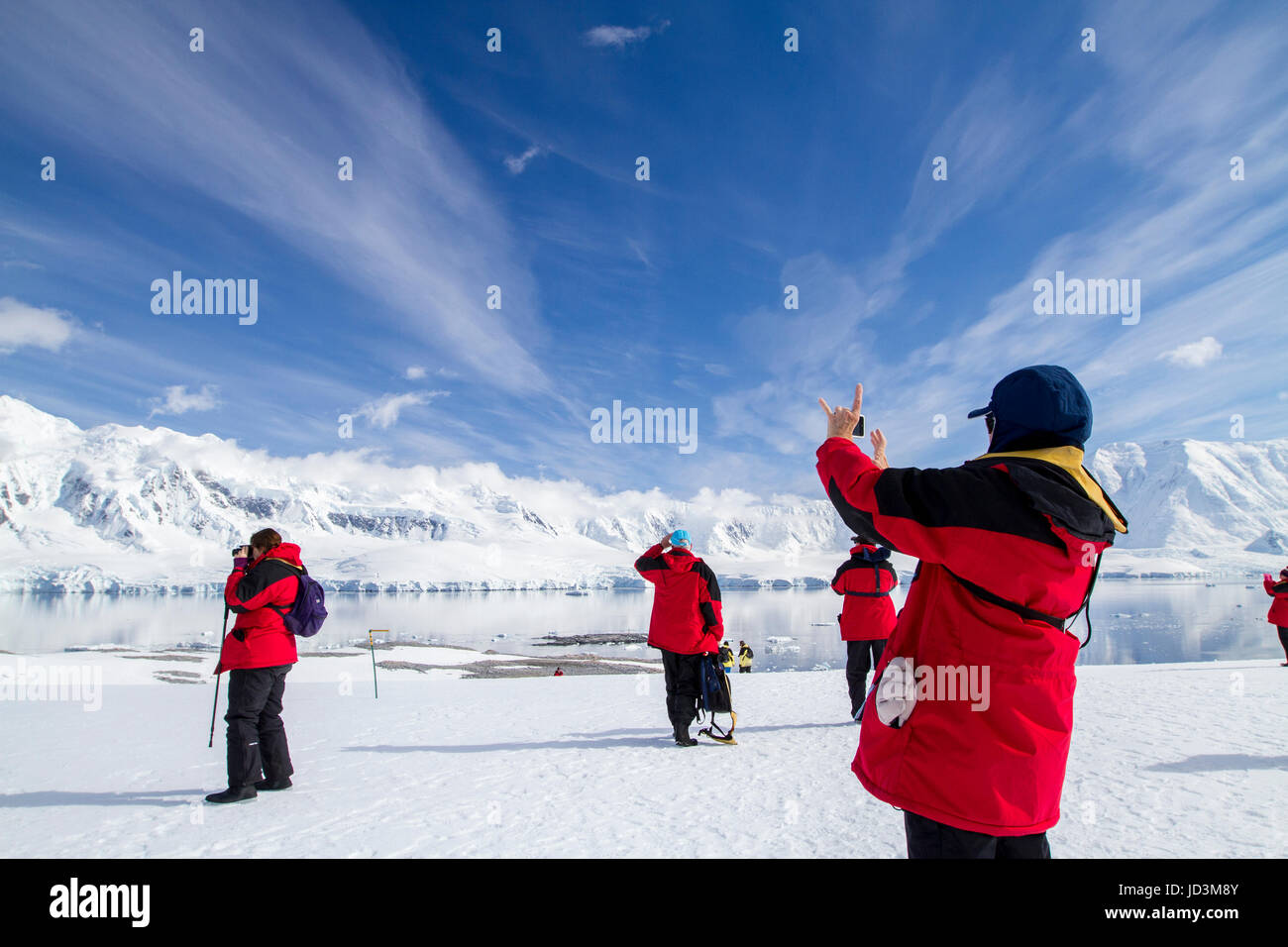 Cruise ship Antarctica expedition with tourists view Antarctic landscape,  Antarctic Peninsula. - Stock Image