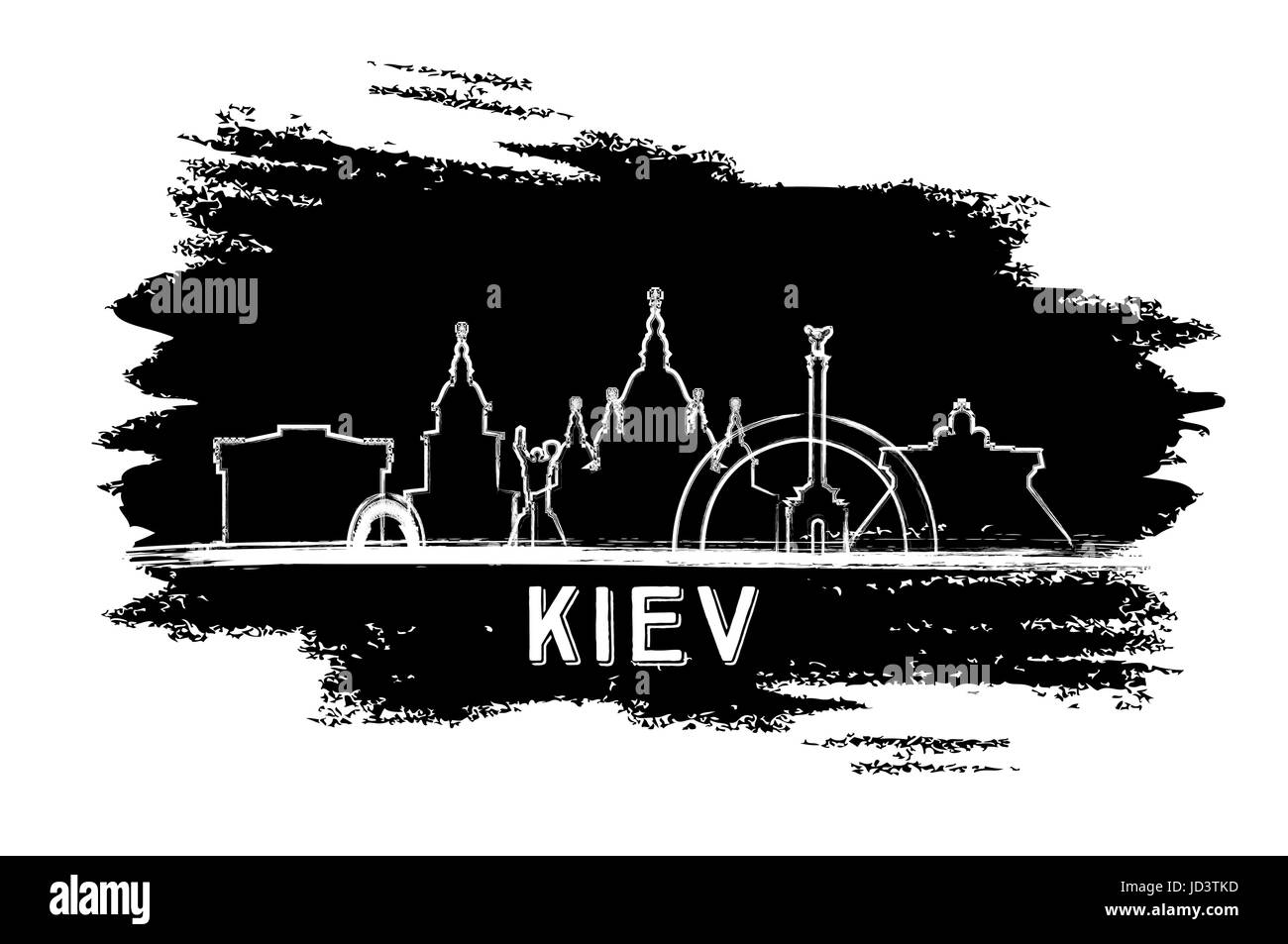 Kiev Skyline Silhouette. Hand Drawn Sketch. Vector Illustration. Business Travel and Tourism Concept with Modern - Stock Image
