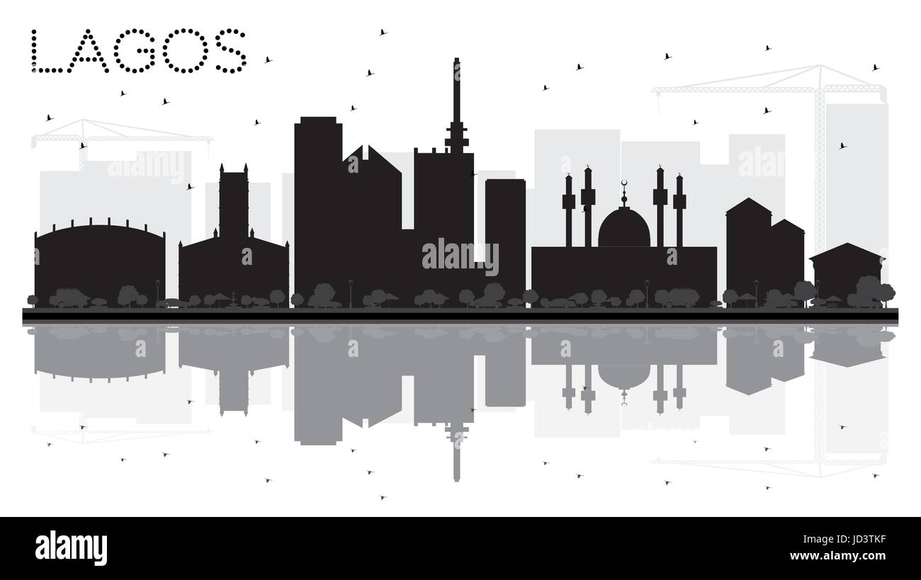 Lagos City skyline black and white silhouette with reflections. Vector illustration. Cityscape with landmarks. - Stock Image